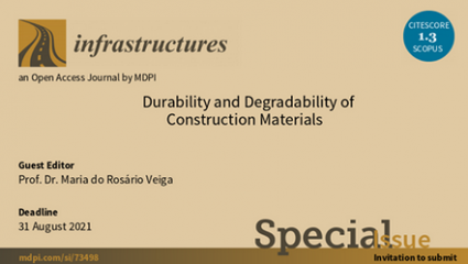"LNEC Researcher Rosário Veiga is guest editor for a special edition of the international scientific journal ""Infrastructures""."